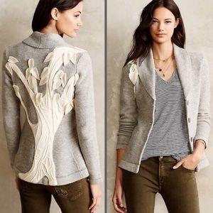 NWT Anthropologie Tree of Life Gray Sweater Blazer